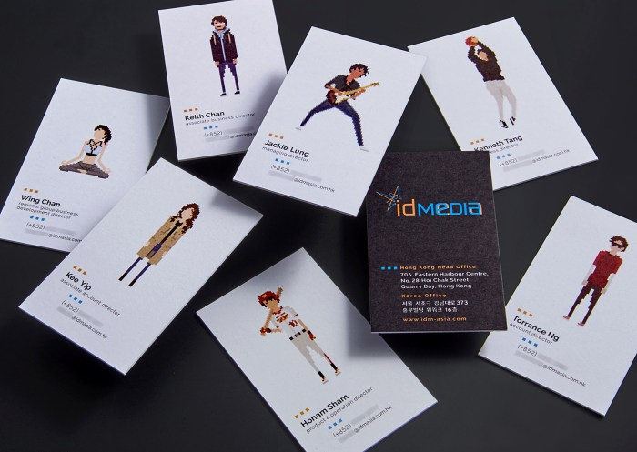 A leading Asian Digital Marketing Agency Brand based in Hong Kong and office in South Korea :: Identity Revamp and New Business Card Design :: business card, name card, 7 executives, 8 cards scattered random, dynamic branding, personalisation pixelated figures of every individuals, black table top, different level of height above table, anglar view