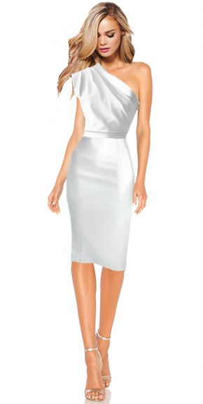 Brautkleid Standesamt Houston - weiss knielang One Shoulder