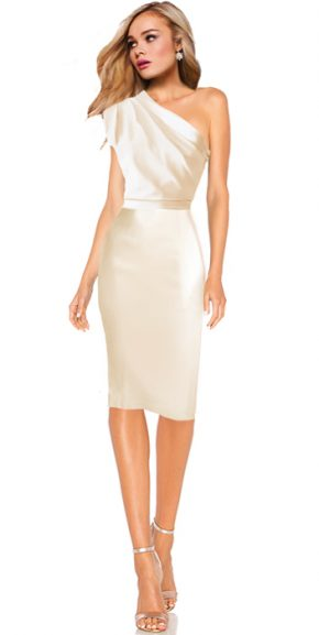 Brautkleid Standesamt Houston - cremeweiss knielang One Shoulder