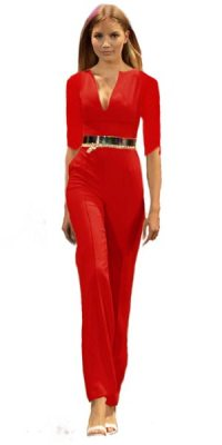 Jumpsuit Angelina lang rot 3/4 Arm