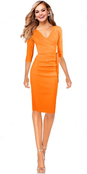 Etuikleid Business Kleid Scarlett - orange knielang 3/4 Ärmel