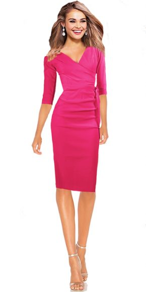 Etuikleid Business Kleid Scarlett - hot pink knielang 3/4 Ärmel