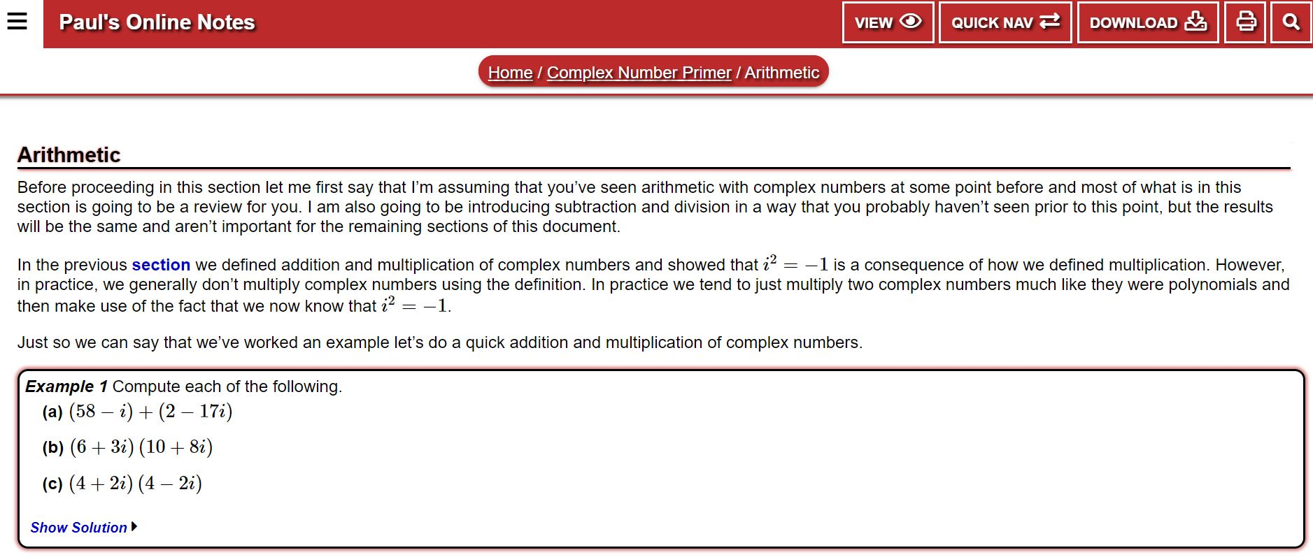 Unit 1 A Complex Numbers And Graphing