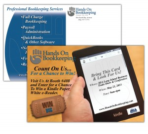 drgli hands on bookkeeping hia postcard design print work