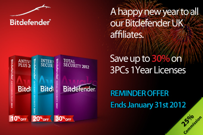 BitDefender UK - HAPPY NEW YEAR – Save up to 30% on 3PCs 1 Year Licenses - 25% Commision