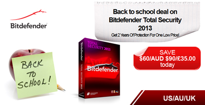Bitdefender – Back to school deal on Bitdefender Total Security 2013