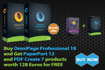 Buy OmniPage Professional 18 and Get PaperPort 12 and PDF Create 7 products worth 128 Euros for FREE