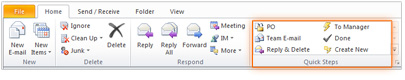 Screenshot: Quick Steps in Microsoft Outlook 2010