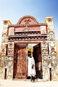 The entrace of the Karima Jebel Barkal hotel is a classical sculpted nubian door