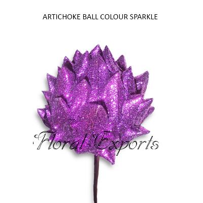 Artichoke Ball Colour Glitter on Stem - Christmas Decorations Wholesale