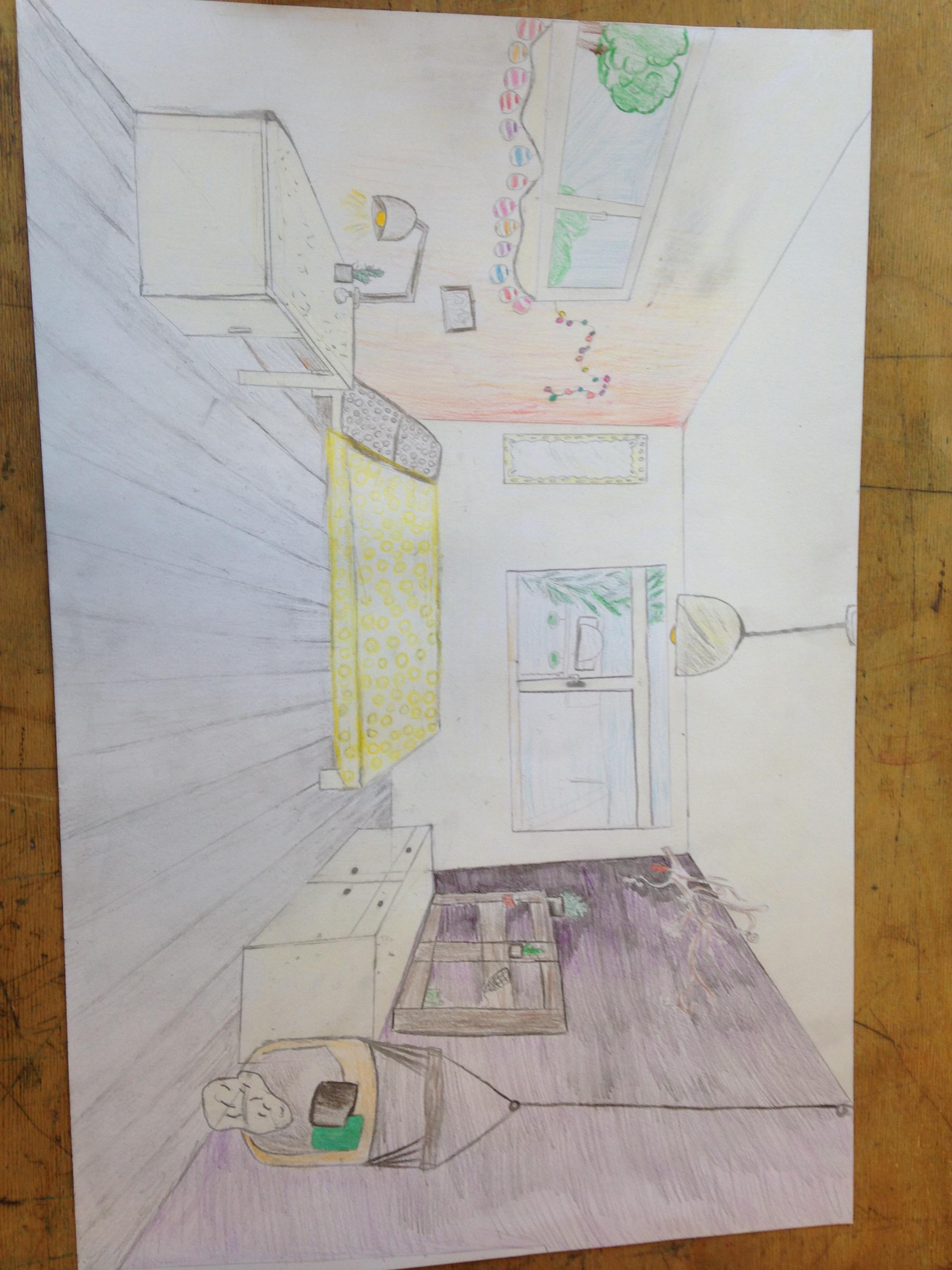 Slaapkamer in pespectief tekenen  driemaalkunstameliedekkerx