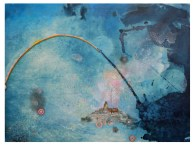"""Rainbow Bridge, 2012 devalued currency collage, ink, gouache and cyanotype on paper over wood, 22"""" x 30"""" (Private collection)"""