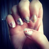 silver and colourful dots