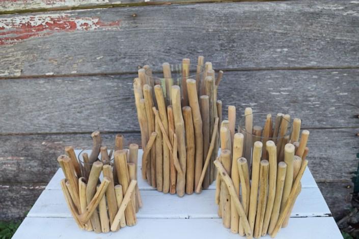 Driftwood hurricane or vase trios