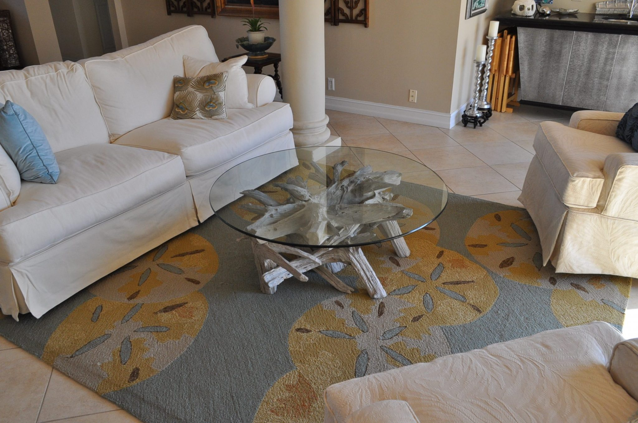 A round driftwood coffee table