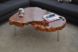 Redwood table with hairpin legs
