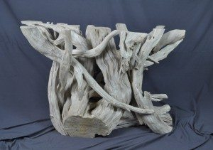 driftwood & glass dining table