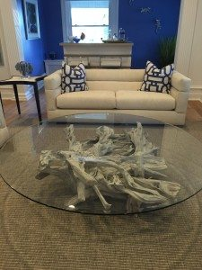 Large round driftwood & glass coffee table