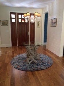 driftwood & glass entry table