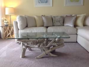 driftwood & glass coffee table