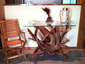 driftwood & glass sofa table