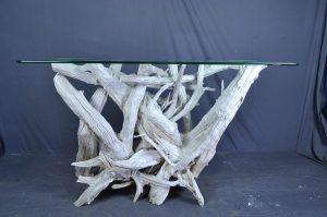 driftwood glass foyer table