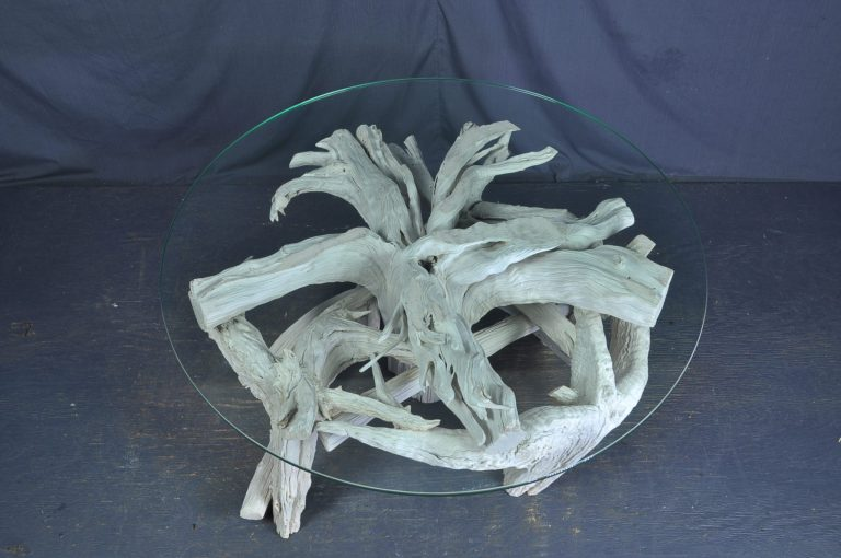 round -glass- driftwood -table