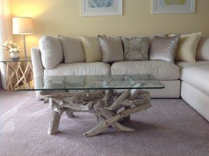 driftwood & glass coffee table