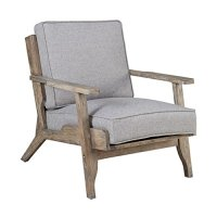 Modern Driftwood Rustic Gray Fabric Upholstered and Wood ...