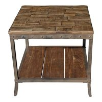 Rustic Vintage Wooden Metal Side End Sofa Table Country ...