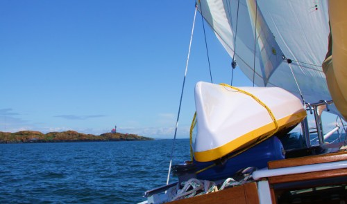 Trial Island Light, Port bow. note the sails have been scrubbed.