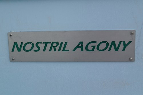 Not a cliché boat name! Is Nostrilagony is a relative of Nostrodamus?