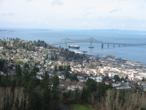 Astoria Oregon on the Columbia River looking out to the Columbia Bar and the open Pacific.