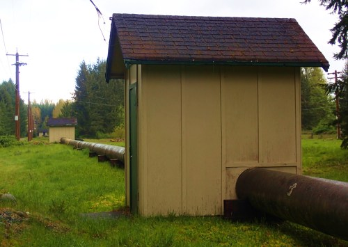 The town had tiny houses but great plumbing! Water supply line to Harmac Pulp Mill