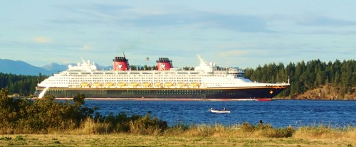 A tyee skiff meets Mickey Mouse. Disney cruise ship southbound in /discovery Passage at Campbell River