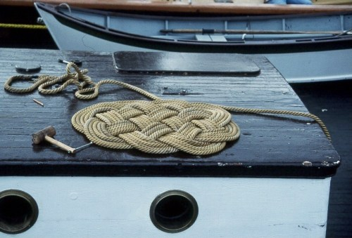 Ropework. Skills which came from when a seaman's deftness with ropes and sailcloth were part of his trade.