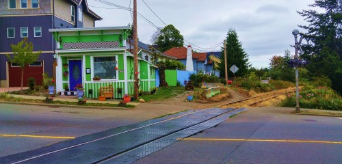 The little green shack beside the track. This converted store is one of my favourite buildings in Nanaimo