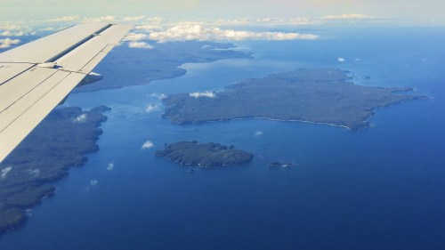 Goletas Channel, the entrance to Bull Harbour. Nahwitti Bar and Cape Scott beyond. This is the Northwestern tip of Vancouver Island.