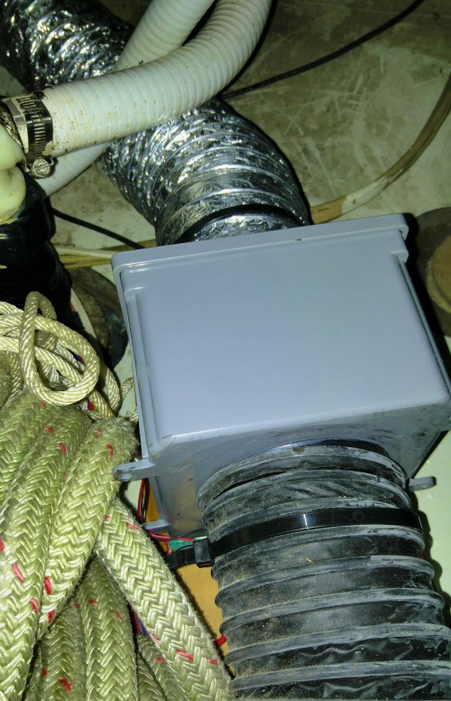 My home-made air exchanger, shoe-horned into the rope locker. It is a simple device that removes the damp air from the bottom of the boat and draws fresh, drier air in. IT WORKS!