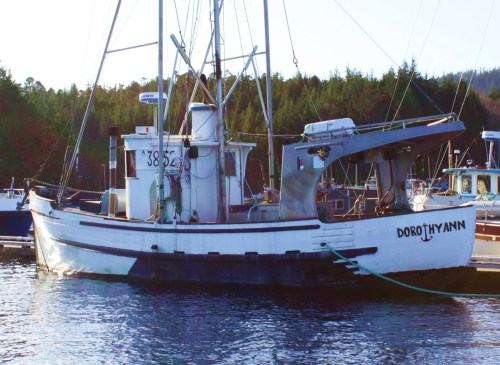 Dorothy Ann. A beautiful double-ended Alaskan fishing boat. She was southbound. An incongruous joining of lines, even the aluminum dodger works. What stories there'd be if only she could talk.