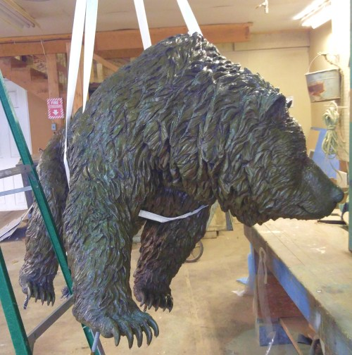 Hanging Bear...the legend! That's one helluva lawn ornament. In for the winter in the carpenter shop.