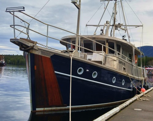 The Real Thing Surf Bird, Prince Rupert. Wooden hull, aluminum topsides. A true beauty passing by.