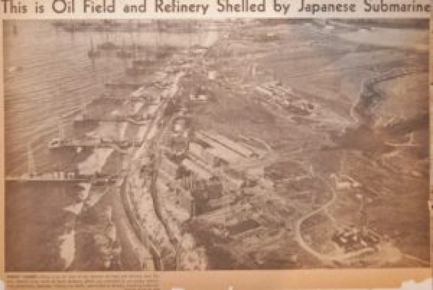 Oil refinery shelled by japenese