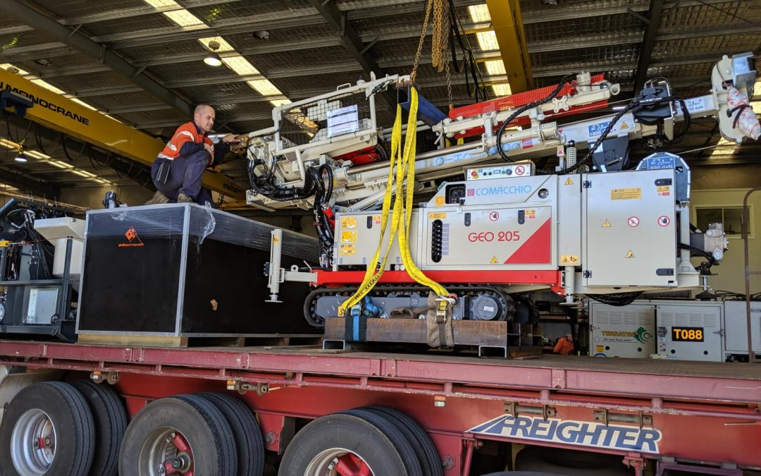 Display equipment shipped out on Friday bound for the Darwin Convention Centre for the Australian Drilling Industry Association (ADIA) Drill 2019 Sept 17- 19