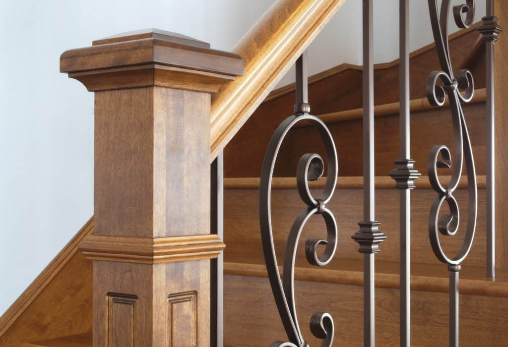 How Do You Make A Newel Post Sturdy – Drill Warrior   Handrail To Newel Post   Craftsman Style   Indoor Railing   Wood   Gray Stain   White Oak