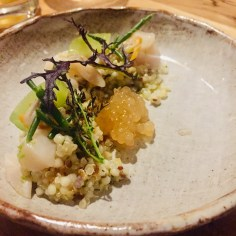 Coquillages marinés, quinoa et concombres