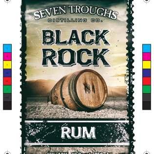 Seven Troughs block rock rum label