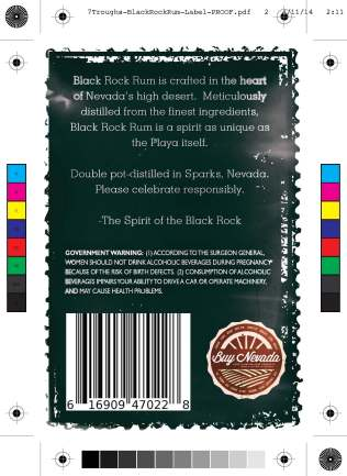 Seven Troughs block rock rum label