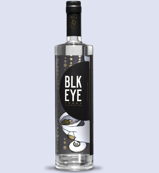 Bottle of BLK EYE Vodka made from black-eyed peas from Texas