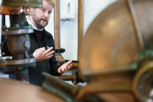 Adam Hannett, the Head Distiller at The Botanist gin, made by Bruichladdich on the Scottish island of Islay